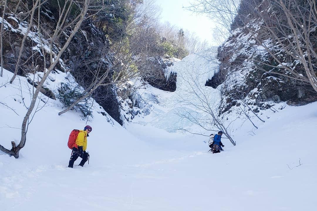 家族揃ってアイスクライミングin南沢大滝小滝。